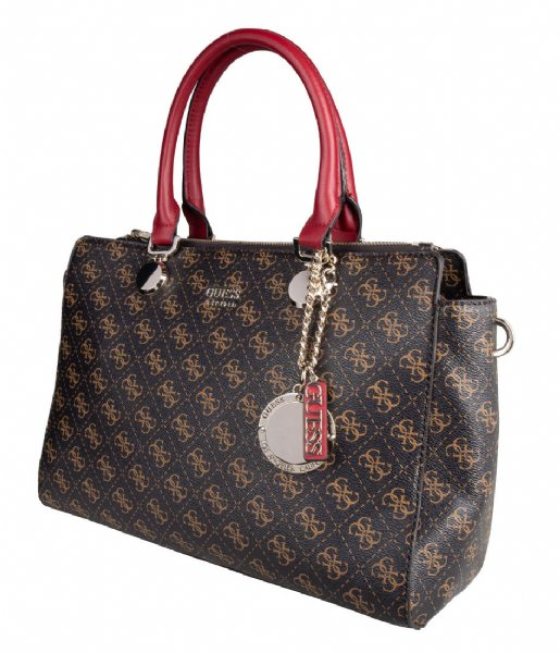 Guess Torebki Aline Society Satchel brown multi | The Little